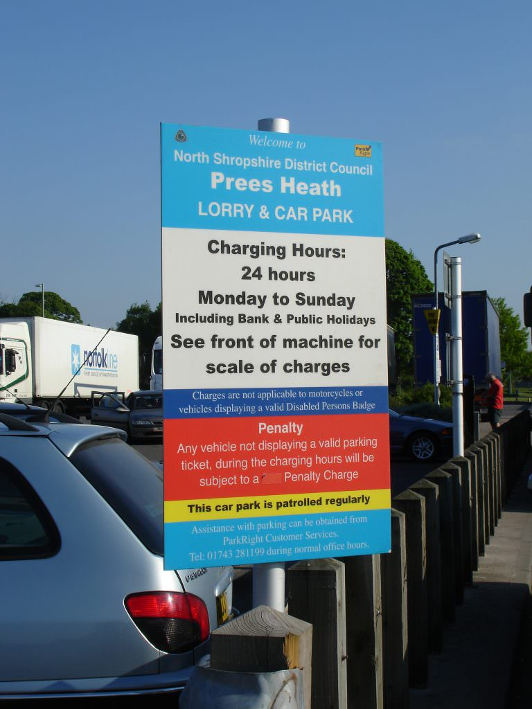 A Car & Lorry Park notice sign supplied with a  single steel post.  The design giving rules & regulations for car park use