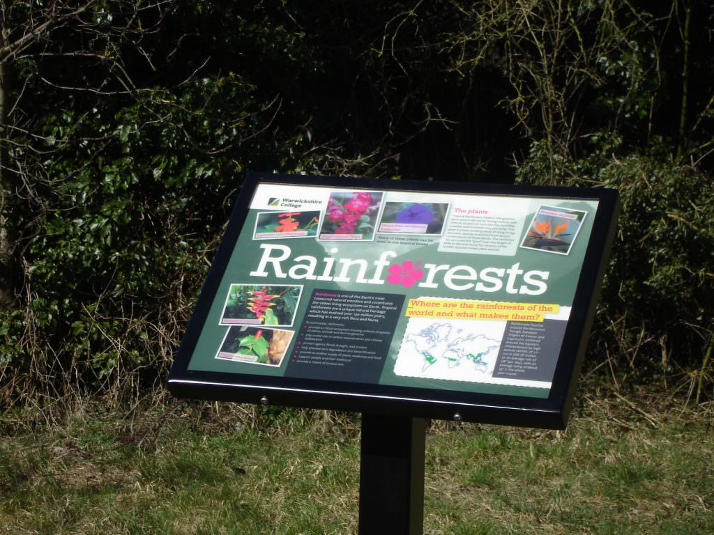 An A3 size natural history interpretation panel discussing Rainforests and their importance to the eco system. Sign set in a single leg aluminium lectern frame