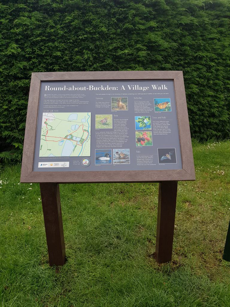 A natural history interpretation panels set in a recycled plastic lectern frame. The design is based on natural history to be found on a circular walk