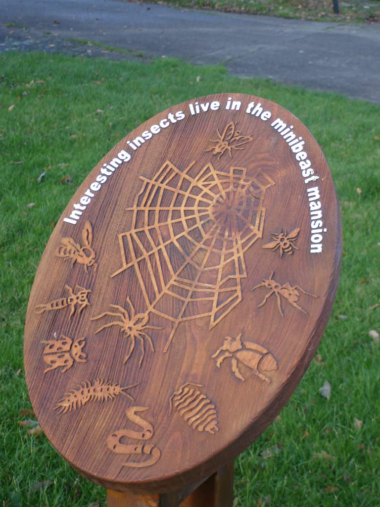 A tactile timber interpretation panel in an oval shape. A spiders web and range of minibeasts are illustrated in sandblasted images.