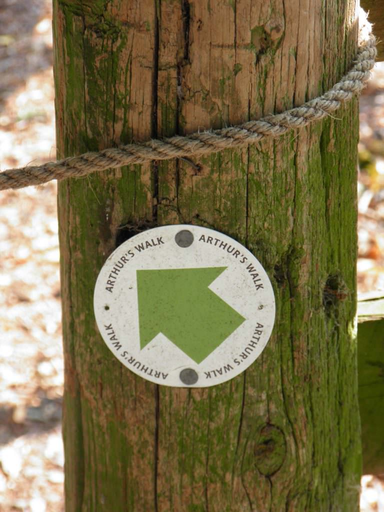 A 76mm diameter waymarker disc with a green directional arrow and black text. Mounted on a fence post