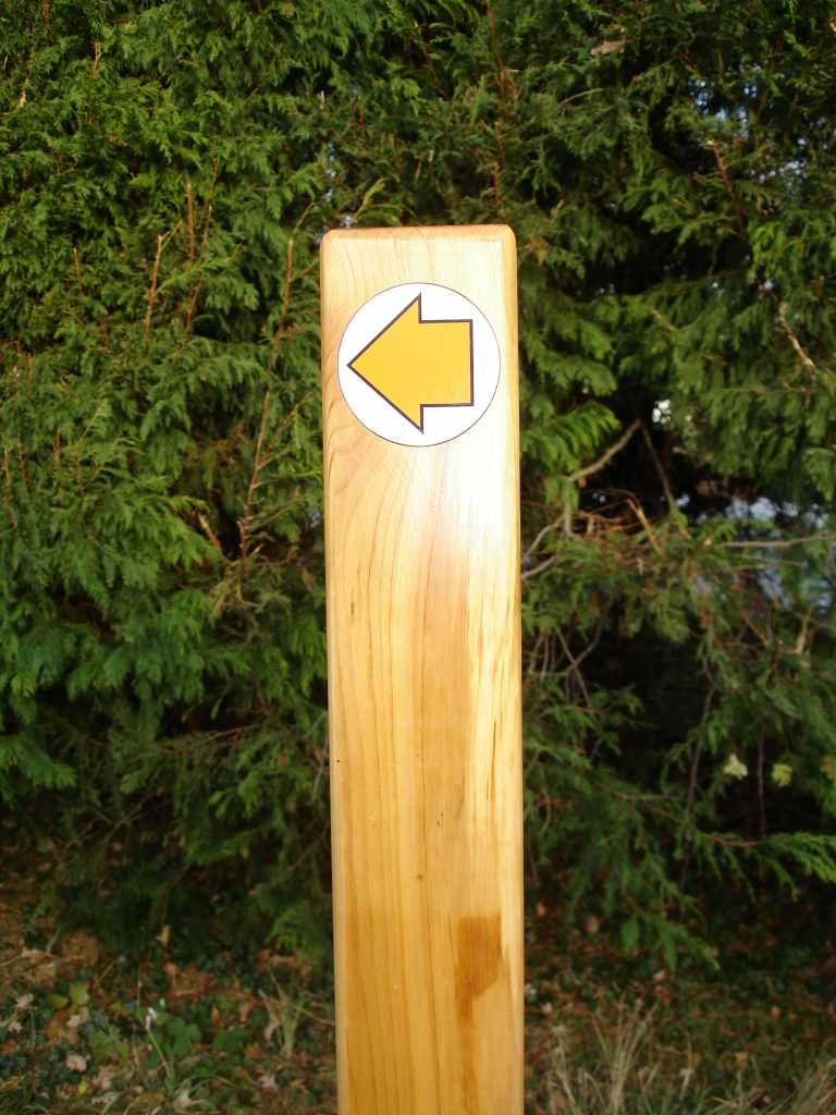 An oak directional bollard at 100mm square in a rural setting. Supplied with a round waymarker disc set into the bollard