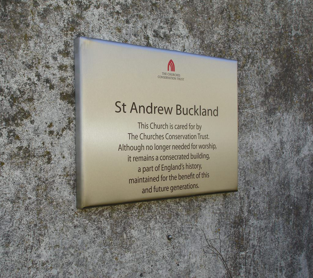 Printed Stainless steel Church Entrance & Information sign for Churches Conservation Trust