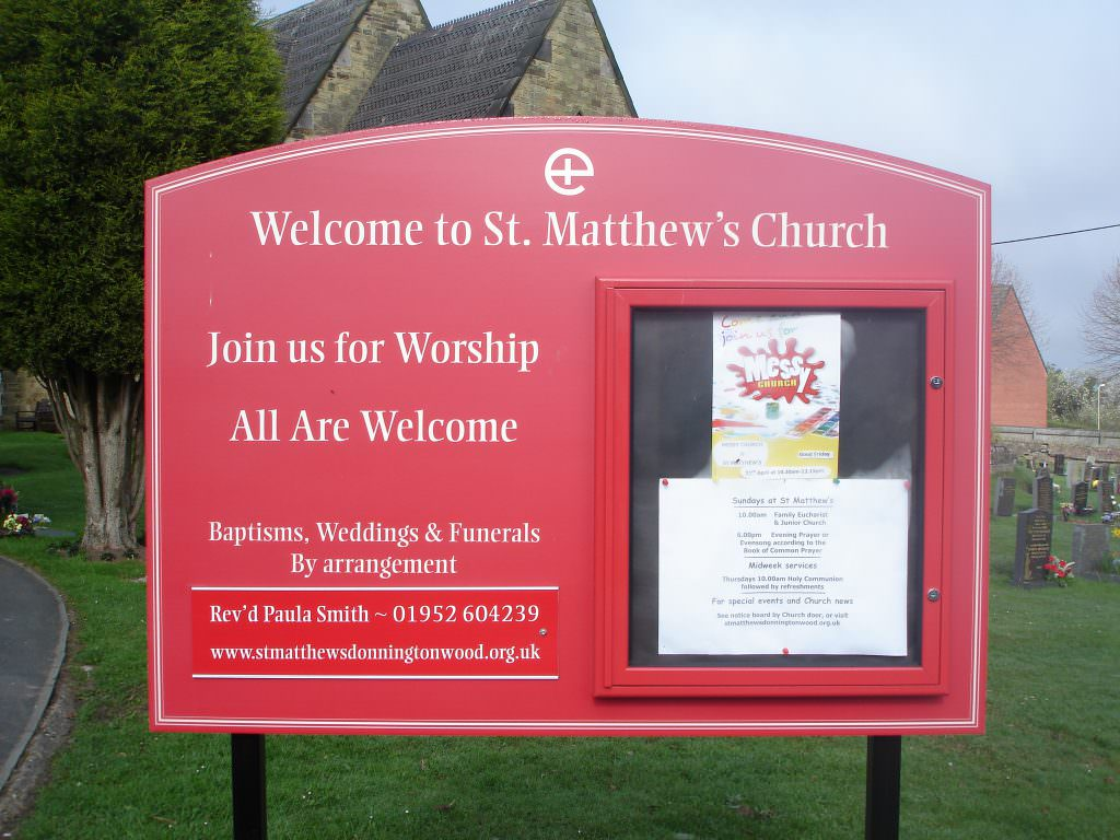A Church welcome & entrance sign with permanent details on one side & a lockable notice board for changeable details
