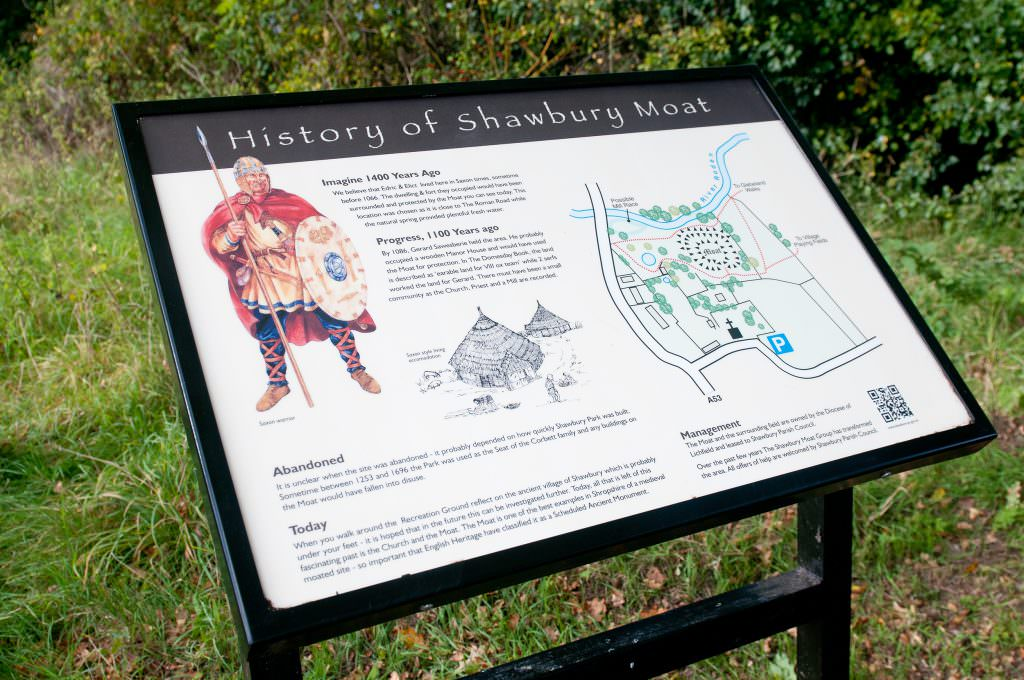 A village interpretation panel in a powder coated aluminium lectern frame. Introducing the history of the village and Moat back to Saxon times