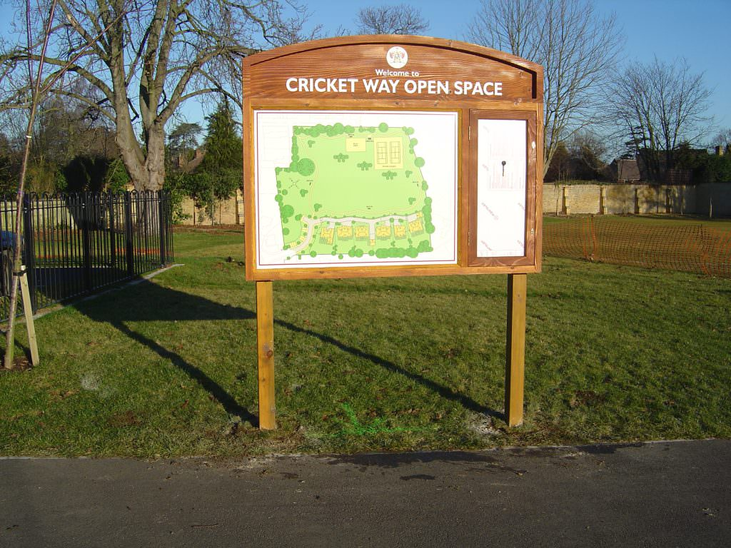 A park entrance sign with the design consisting of a large site map. Mounted in an oak frame with a header panel and integral, lockable, notice board