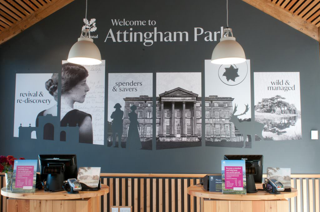 Large format Vinyl wall graphics in the entrance lobby of a National Trust property.  Printed and cut out vinyl showing snippets of history