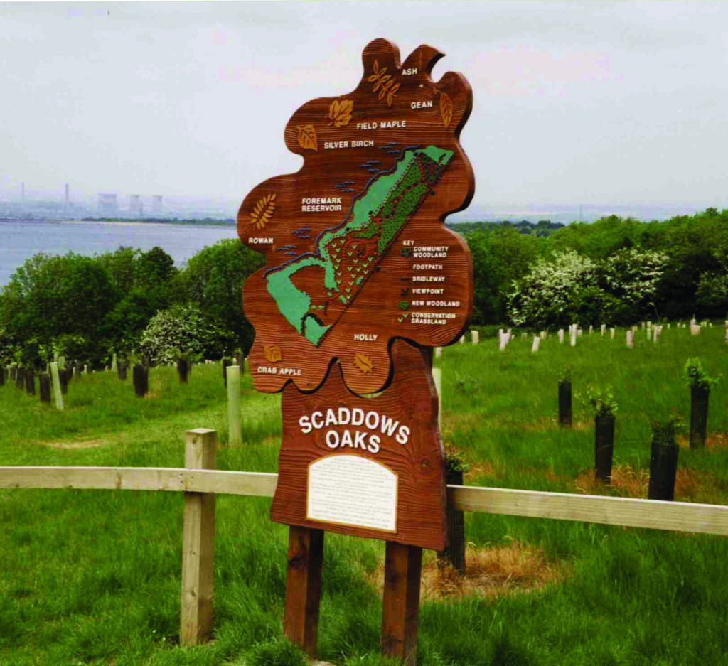 A rural interpretation panel cut out in the shape of an oak leaf and post mounted.  The design includes a map of the park and species information.
