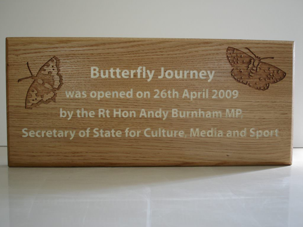 A routed Oak sign for Chester Zoo with indented text, painted white and two indented butterfly illustrations. Wall mounted.