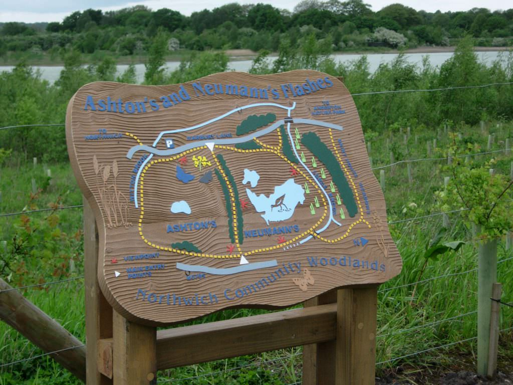 A tactile, sandblasted timber map panel set in a country park.  The map details, text and illustrations meet DDA requirements