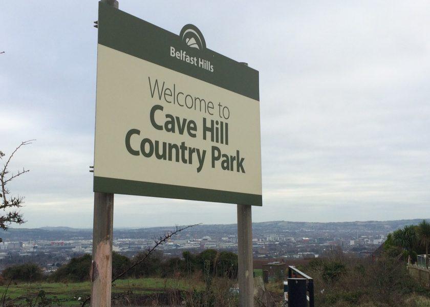 Park entrance sign on steel posts