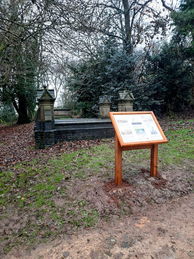 Church interpretation panel with lectern frame