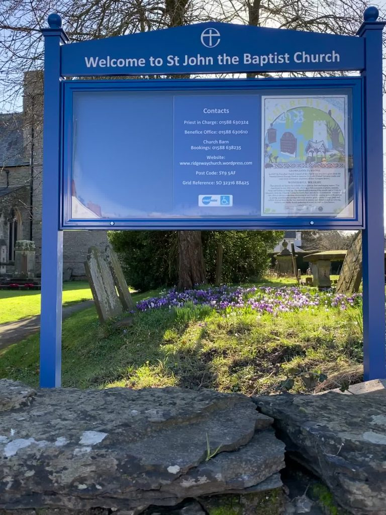 Church Entrance sign with notice board, header panel & posts